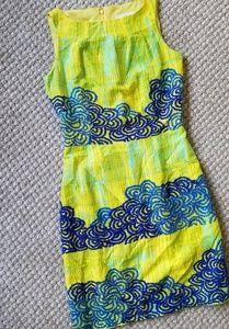 Anthropologie Tabitha Azure Scroll Sheath Dress